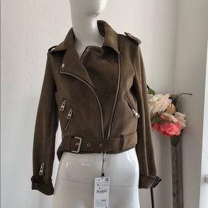 Zara Faux Suede Biker Jacket